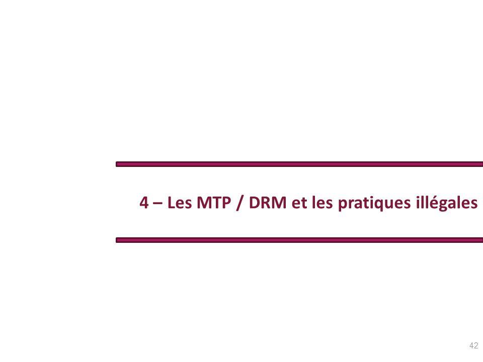 4 – Les MTP / DRM et les pratiques illégales