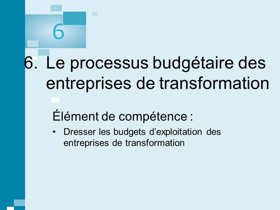 6. Le processus budgétaire des entreprises de transformation