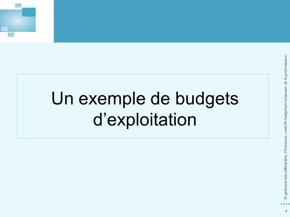Un exemple de budgets d'exploitation
