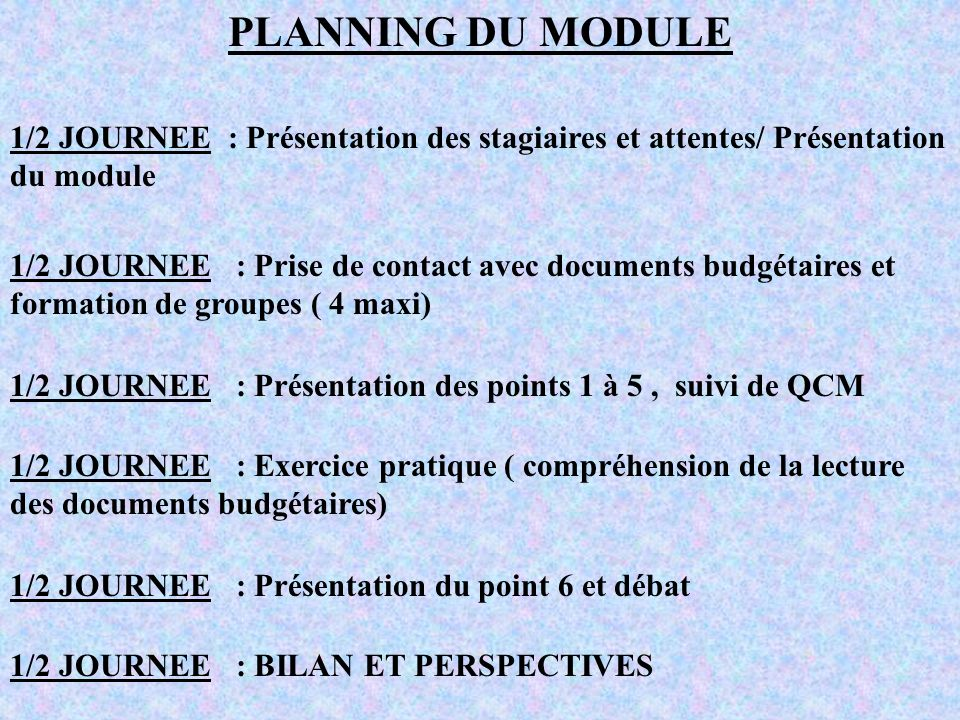 PLANNING DU MODULE 1/2 JOURNEE : Présentation des stagiaires et attentes/ Présentation du module.