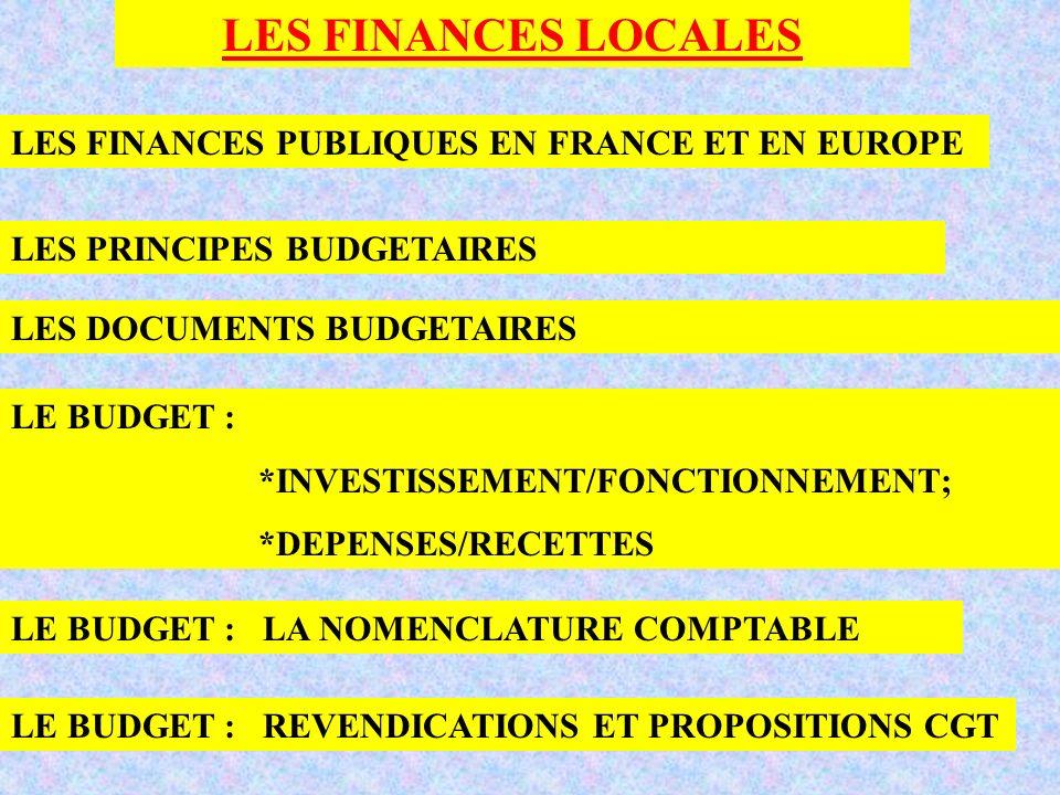 LES FINANCES LOCALES LES FINANCES PUBLIQUES EN FRANCE ET EN EUROPE