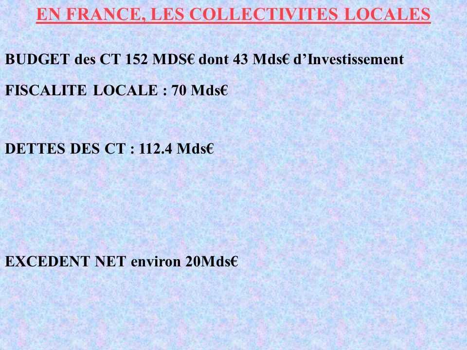 EN FRANCE, LES COLLECTIVITES LOCALES