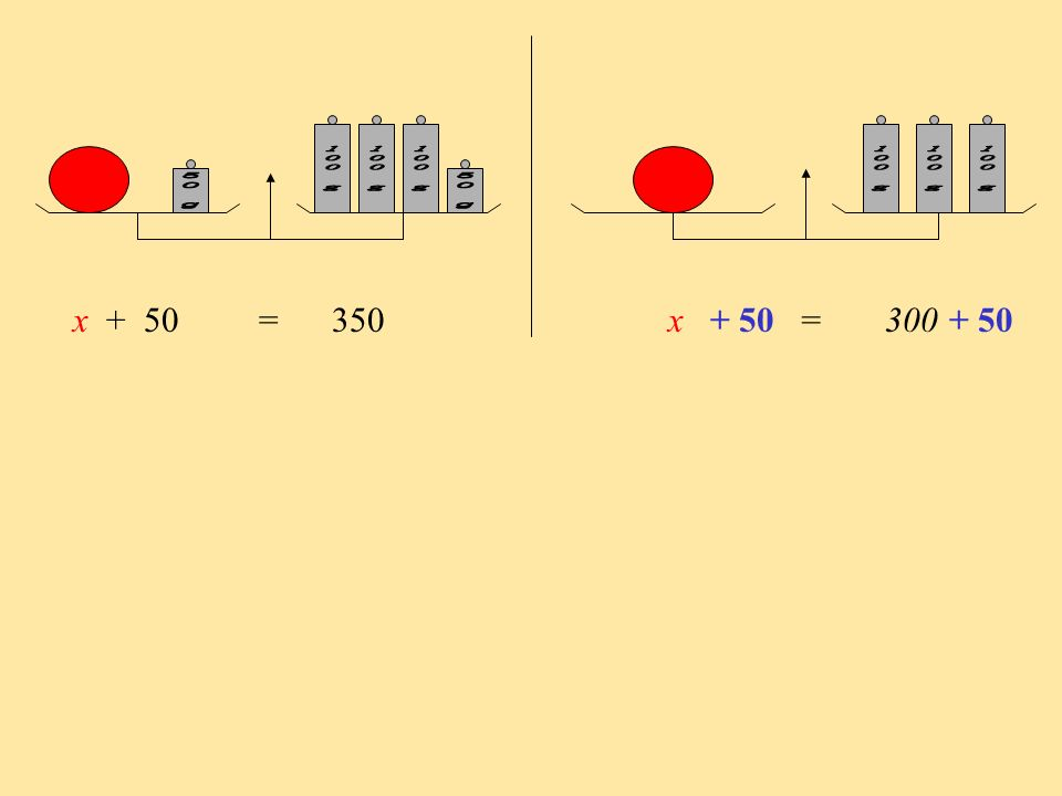 100 g 50 g. 100 g. x + 50 = 350 x = 300.