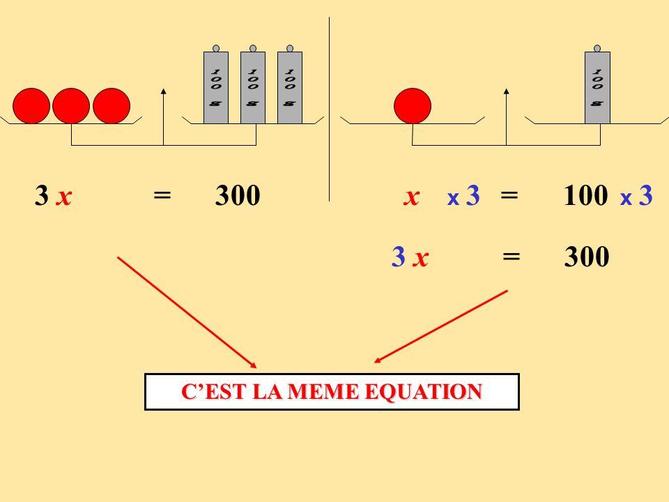 100 g 100 g. 3 x = 300. x = 100. x 3. x 3. 3 x = 300.
