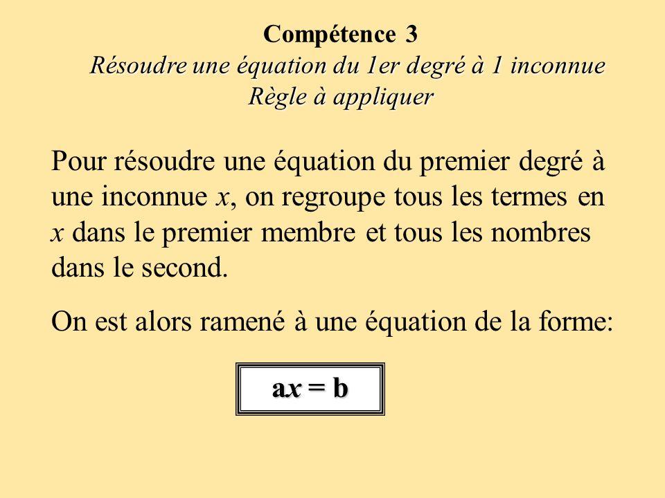 Résoudre une équation du 1er degré à 1 inconnue