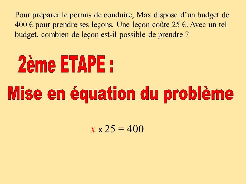 Mise en équation du problème