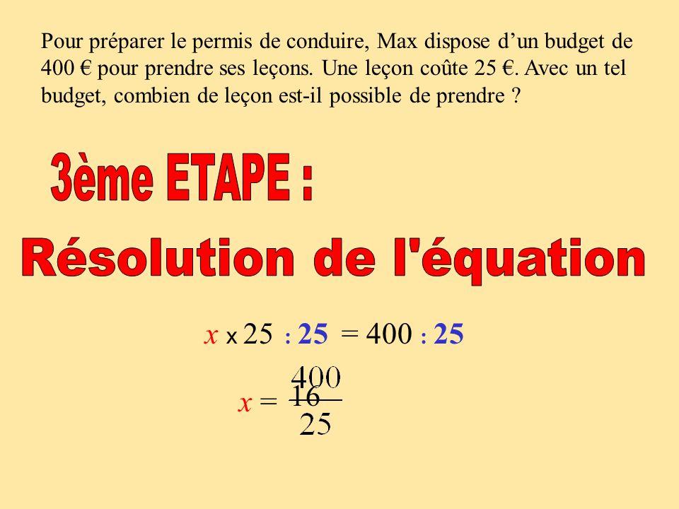 Résolution de l équation