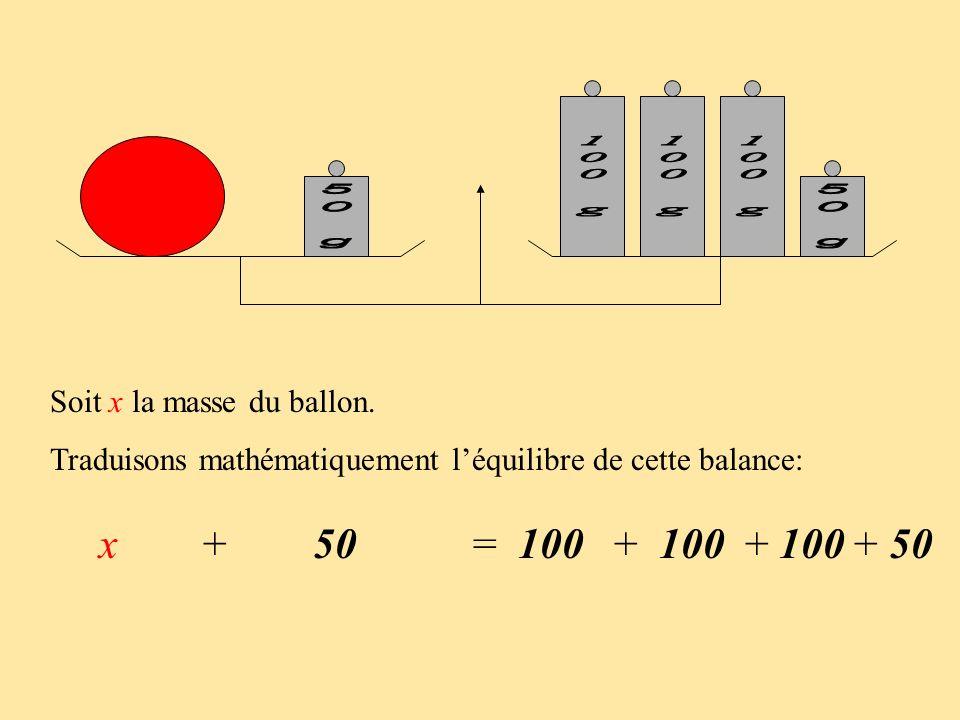 x + 50 = 100 + 100 + 100 + 50 Soit x la masse du ballon.