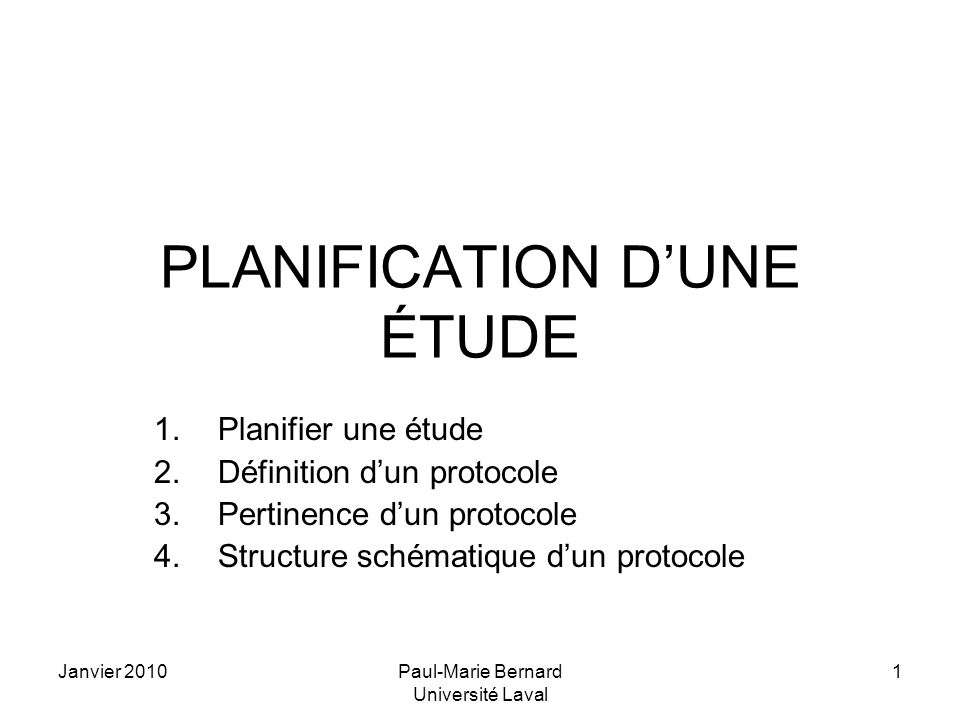 PLANIFICATION D'UNE ÉTUDE