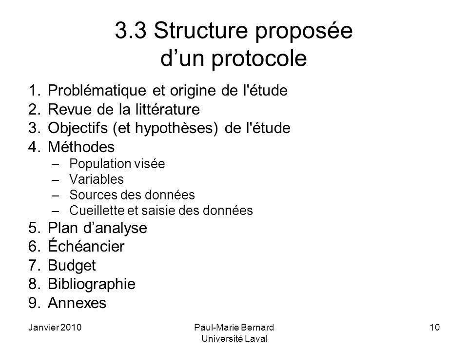 3.3 Structure proposée d'un protocole