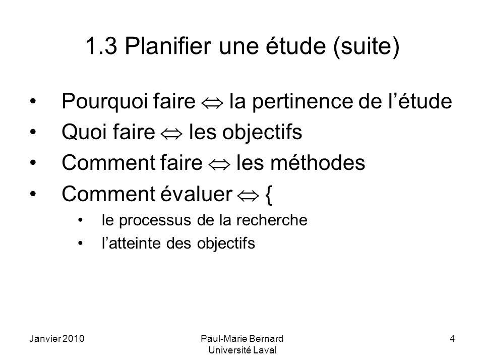 1.3 Planifier une étude (suite)