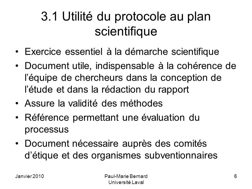 3.1 Utilité du protocole au plan scientifique