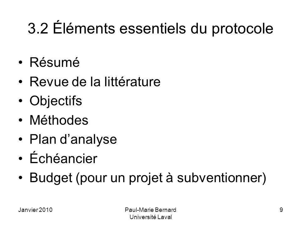 3.2 Éléments essentiels du protocole