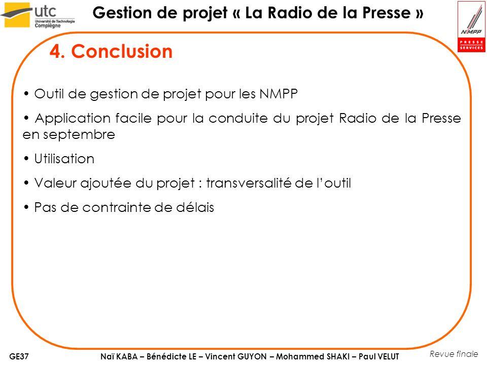 4. Conclusion Outil de gestion de projet pour les NMPP