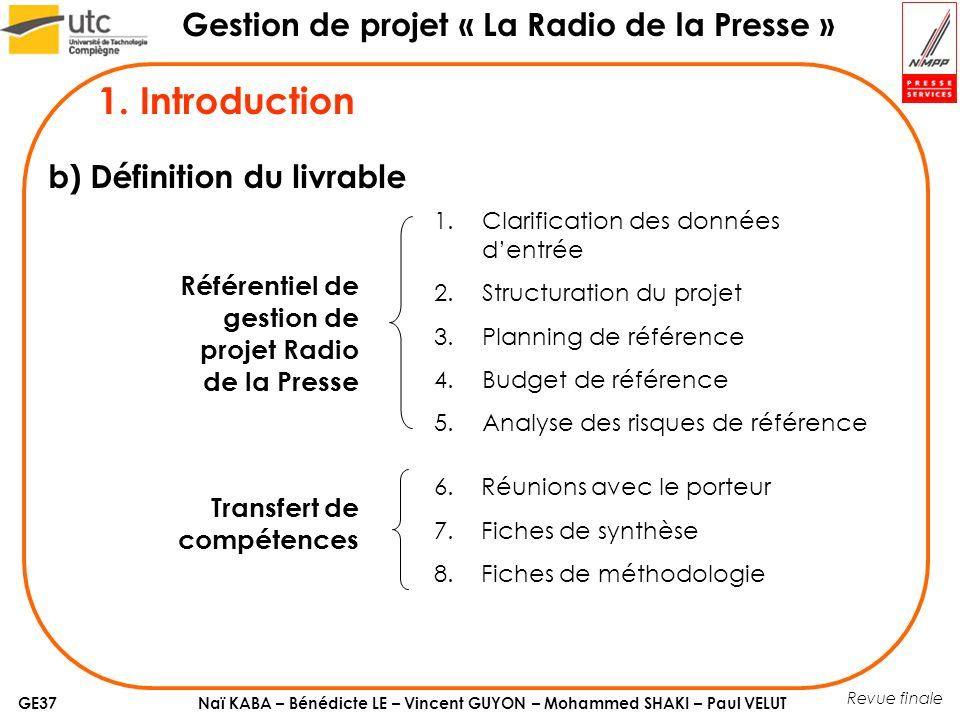 1. Introduction b) Définition du livrable