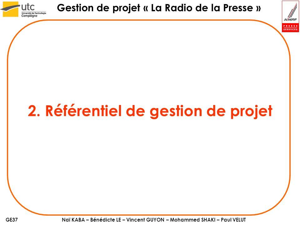 2. Référentiel de gestion de projet