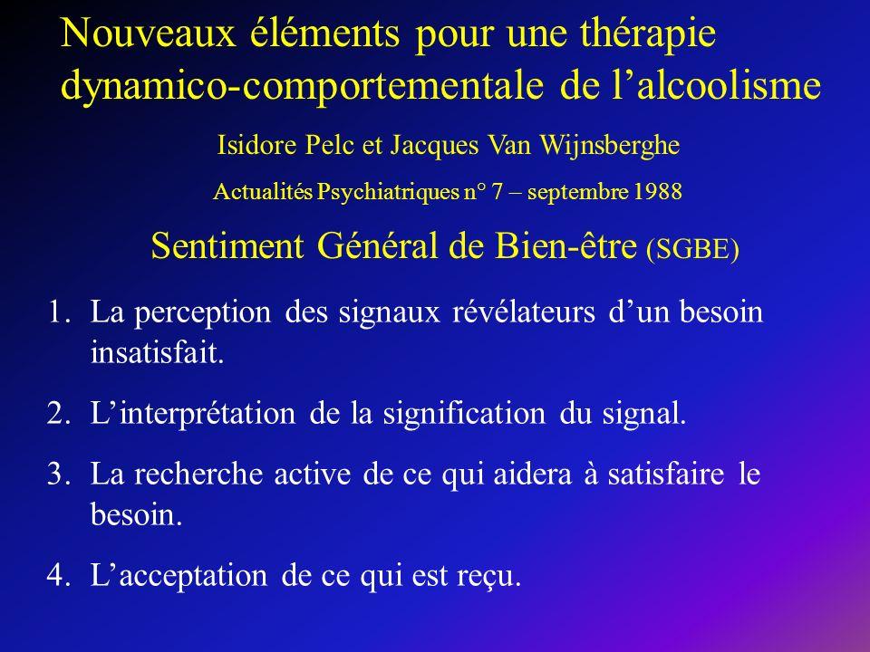 Nouveaux éléments pour une thérapie dynamico-comportementale de l'alcoolisme