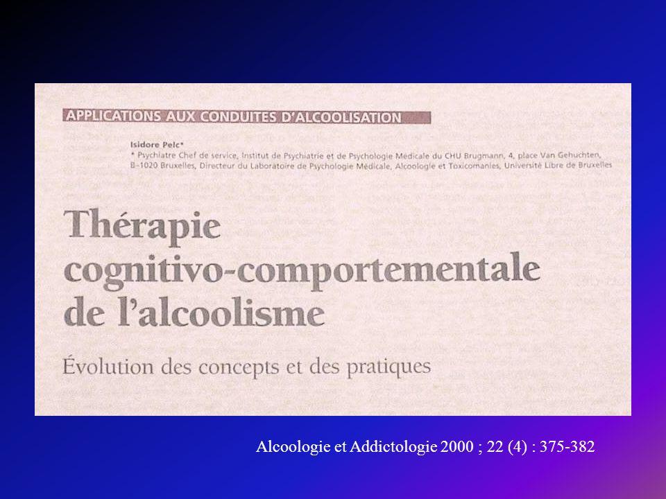 Alcoologie et Addictologie 2000 ; 22 (4) : 375-382