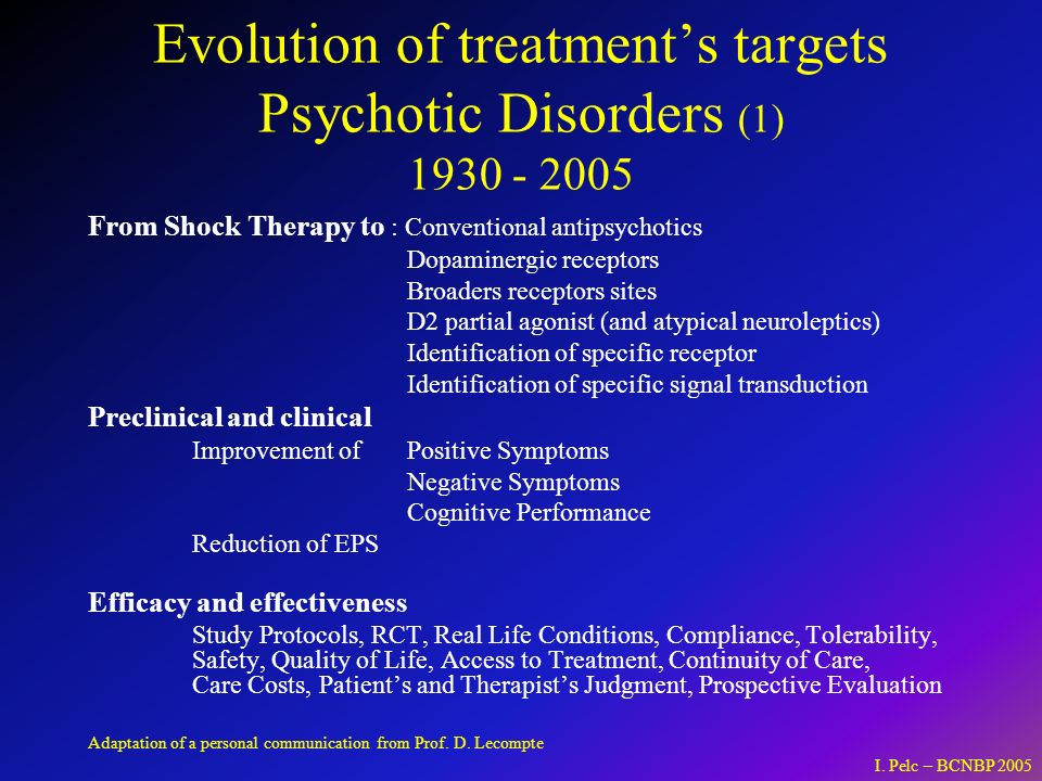 Evolution of treatment's targets Psychotic Disorders (1) 1930 - 2005