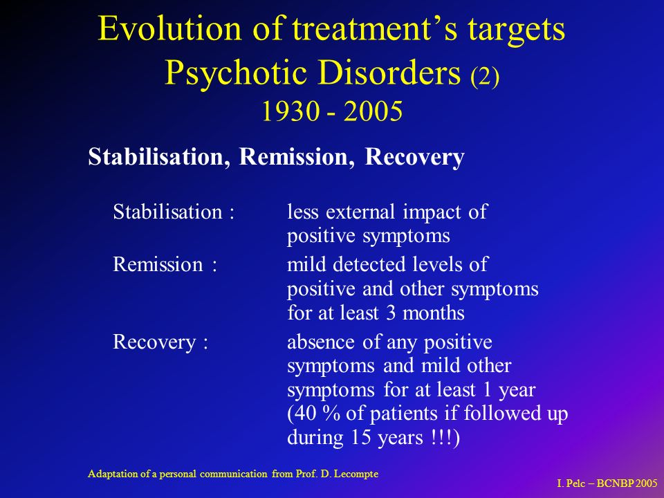 Evolution of treatment's targets Psychotic Disorders (2) 1930 - 2005