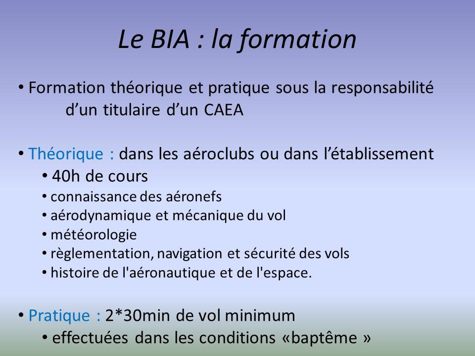Le BIA : la formation Formation théorique et pratique sous la responsabilité d'un titulaire d'un CAEA.