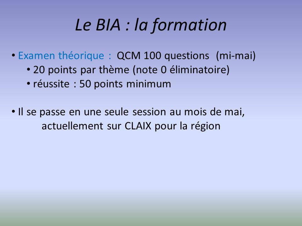 Le BIA : la formation Examen théorique : QCM 100 questions (mi-mai)