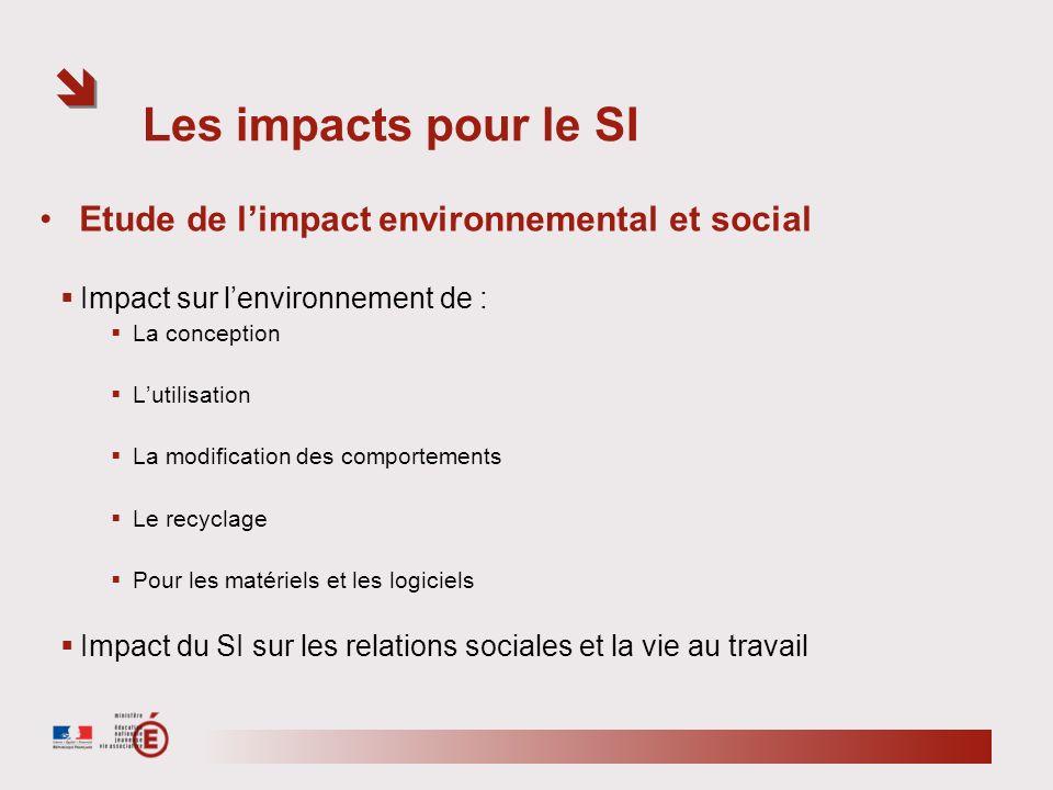 Les impacts pour le SI Etude de l'impact environnemental et social