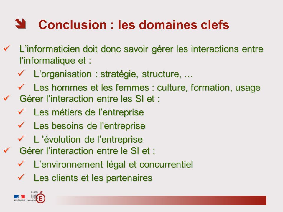 Conclusion : les domaines clefs