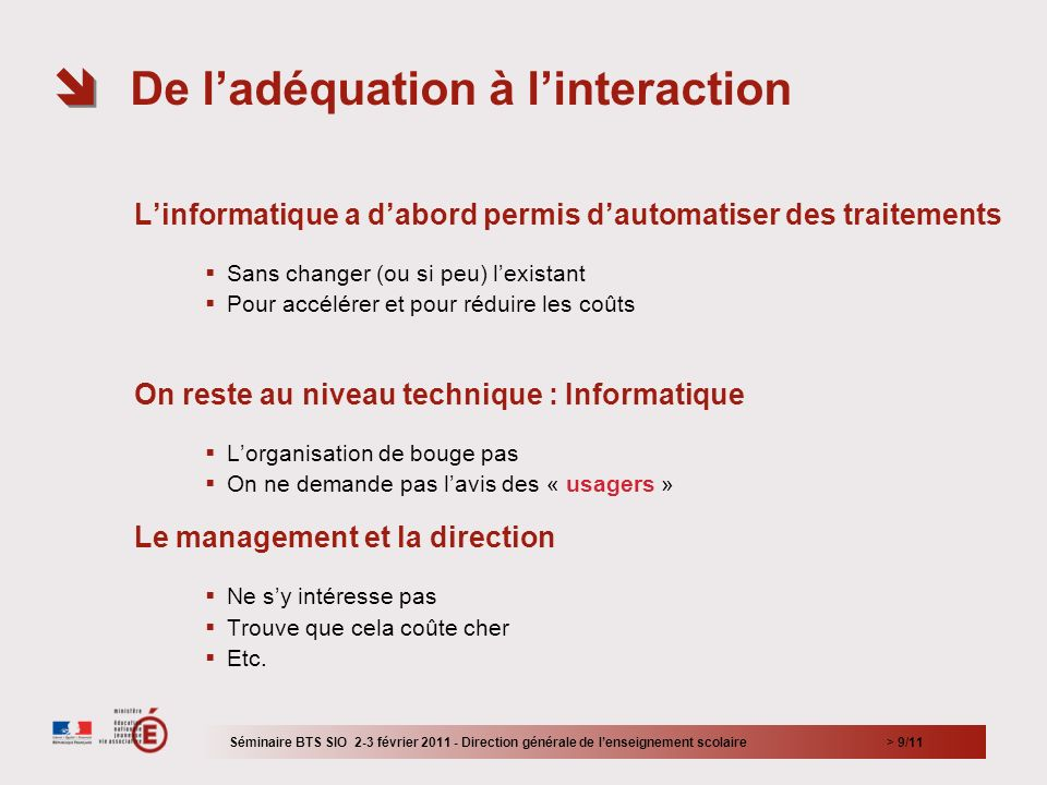De l'adéquation à l'interaction