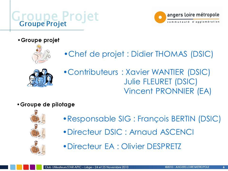 Groupe Projet Chef de projet : Didier THOMAS (DSIC)