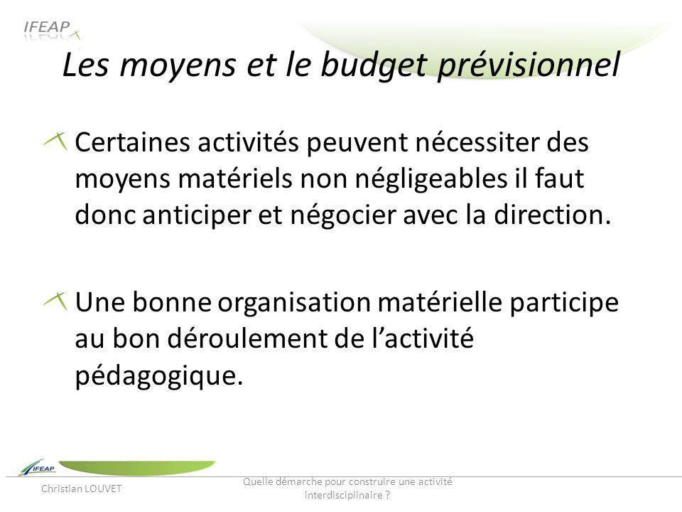 Les moyens et le budget prévisionnel