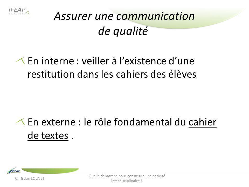 Assurer une communication de qualité