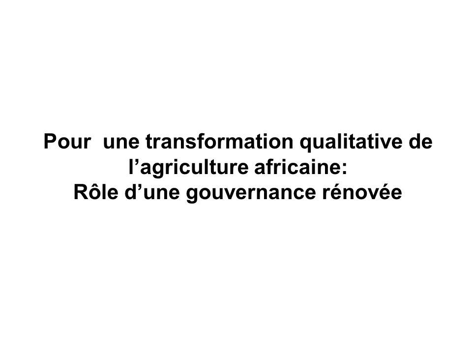 Pour une transformation qualitative de l'agriculture africaine: Rôle d'une gouvernance rénovée