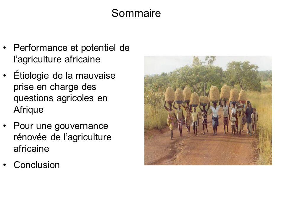 Sommaire Performance et potentiel de l'agriculture africaine