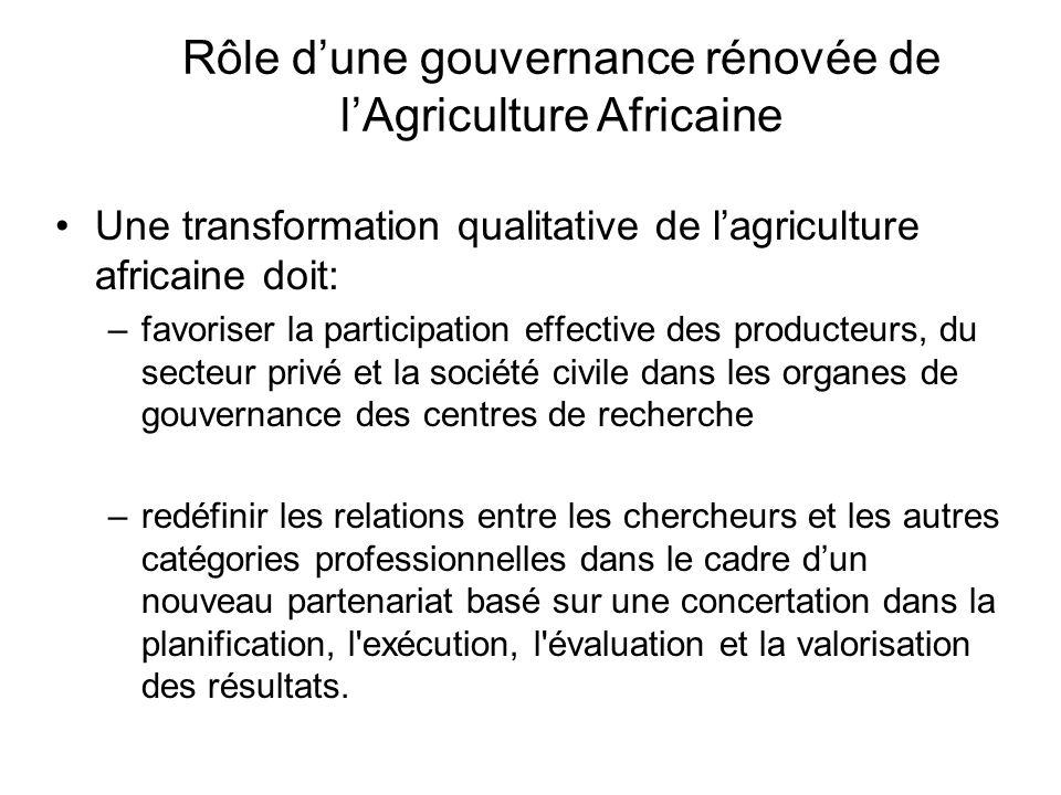 Rôle d'une gouvernance rénovée de l'Agriculture Africaine
