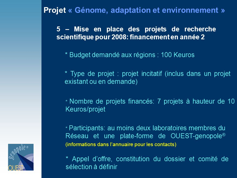 Projet « Génome, adaptation et environnement »