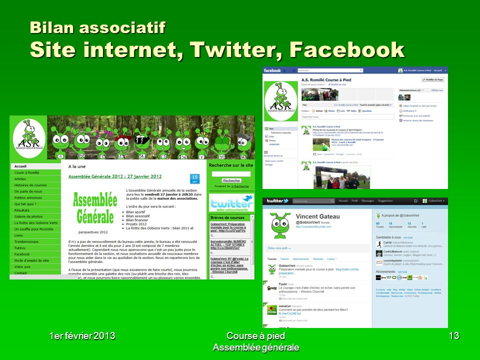 Bilan associatif Site internet, Twitter, Facebook