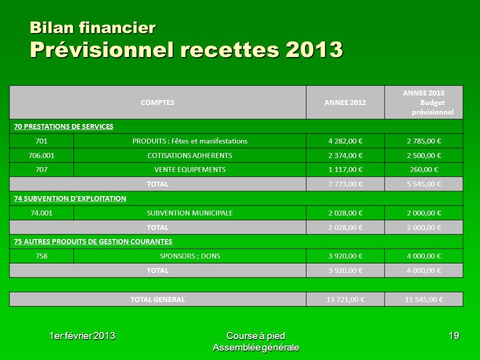 Bilan financier Prévisionnel recettes 2013