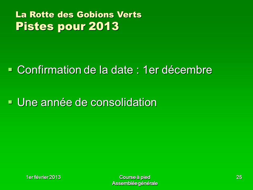 Confirmation de la date : 1er décembre Une année de consolidation