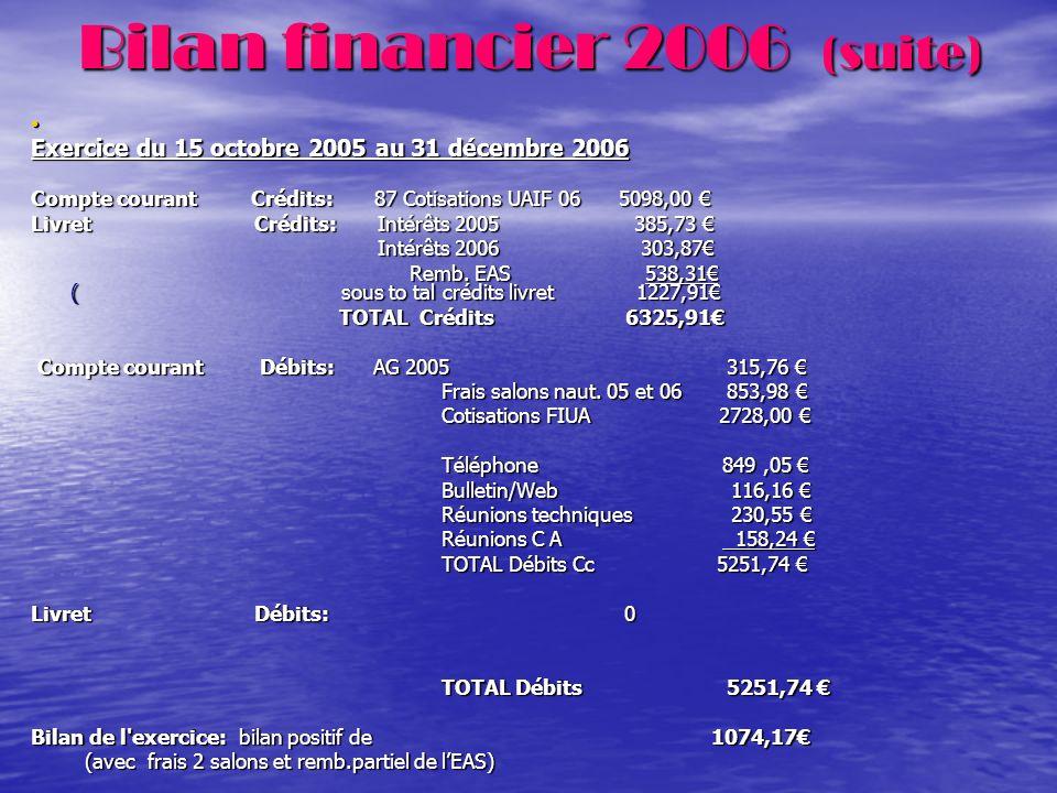 Bilan financier 2006 (suite)