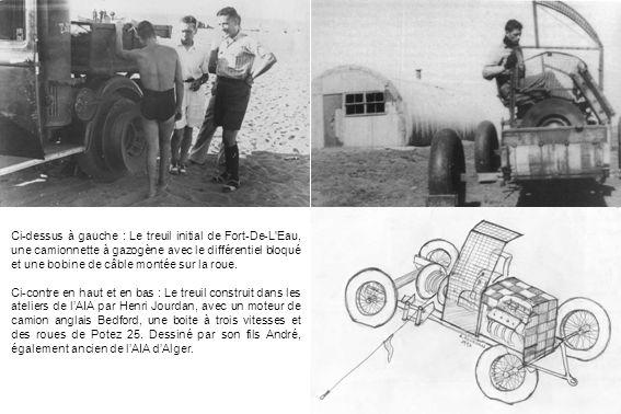 Ci-dessus à gauche : Le treuil initial de Fort-De-L Eau, une camionnette à gazogène avec le différentiel bloqué et une bobine de câble montée sur la roue.