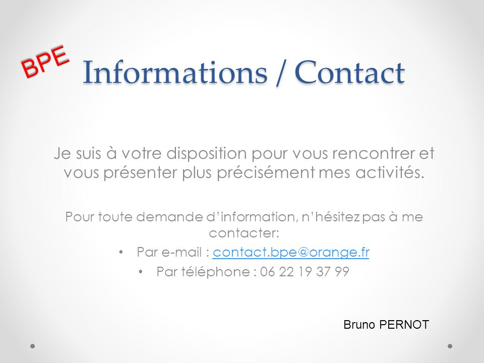 Informations / Contact