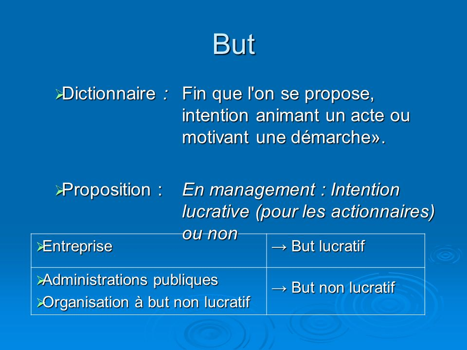 But Dictionnaire : Fin que l on se propose, intention animant un acte ou motivant une démarche». Proposition :