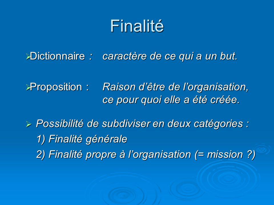 Finalité Dictionnaire : caractère de ce qui a un but. Proposition :