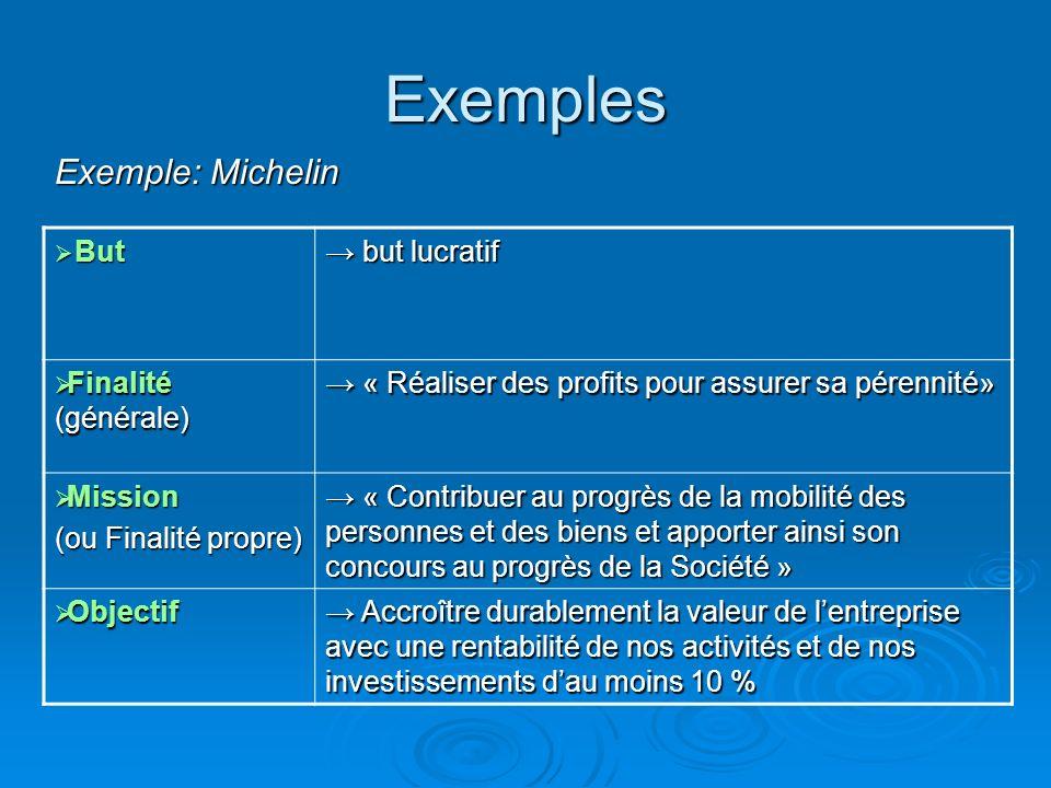 Exemples Exemple: Michelin But → but lucratif Finalité (générale)