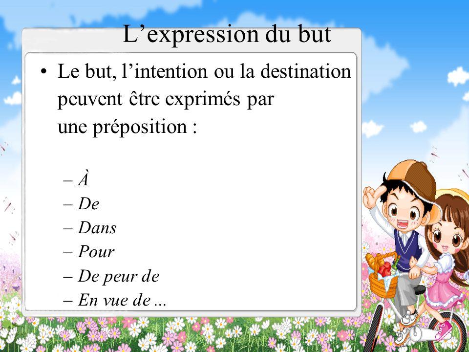 L'expression du but Le but, l'intention ou la destination