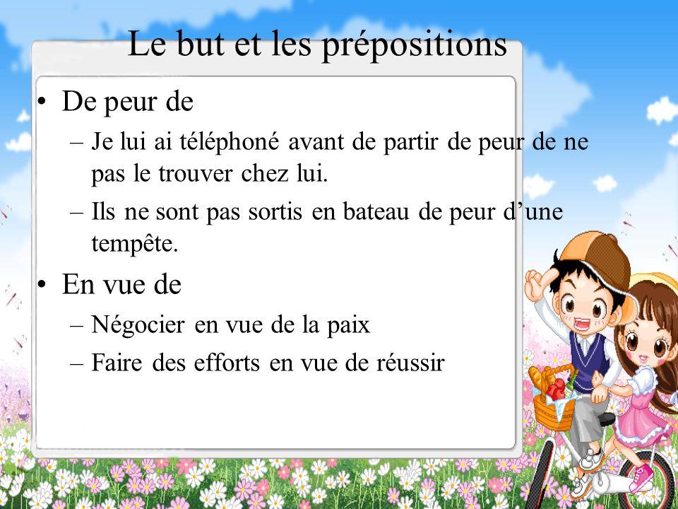 Le but et les prépositions