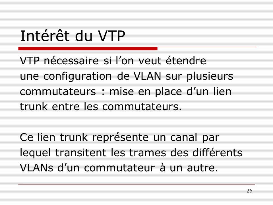 Intérêt du VTP VTP nécessaire si l'on veut étendre