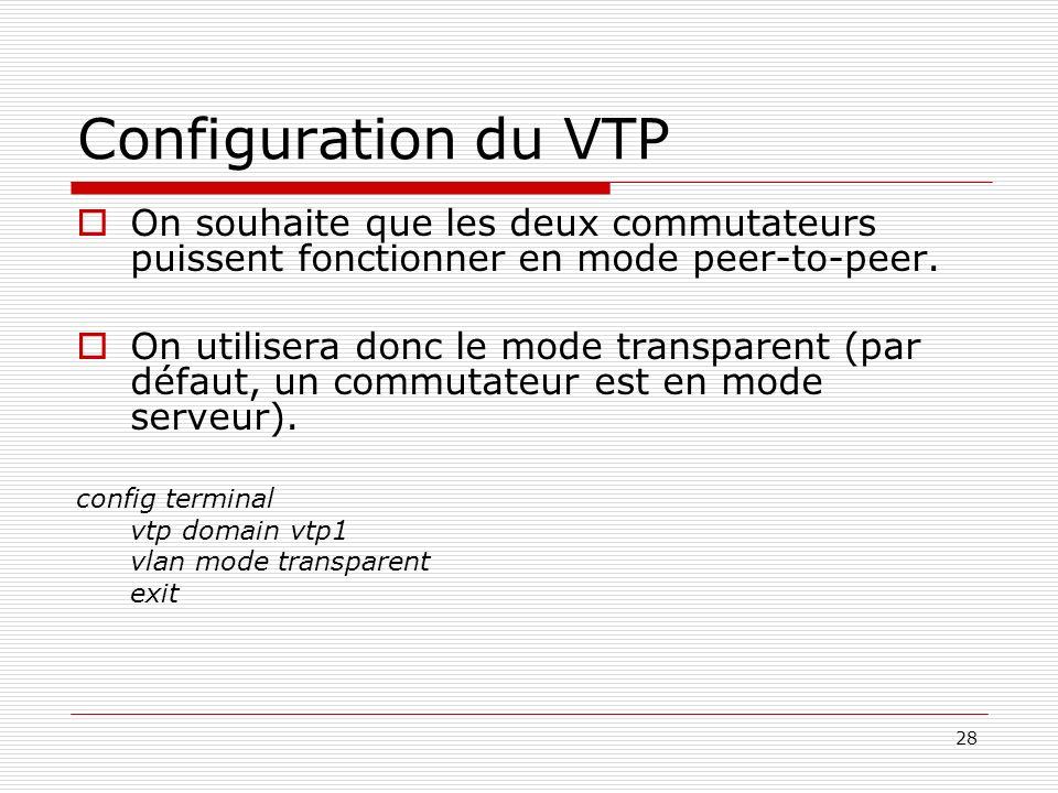 Configuration du VTP On souhaite que les deux commutateurs puissent fonctionner en mode peer-to-peer.