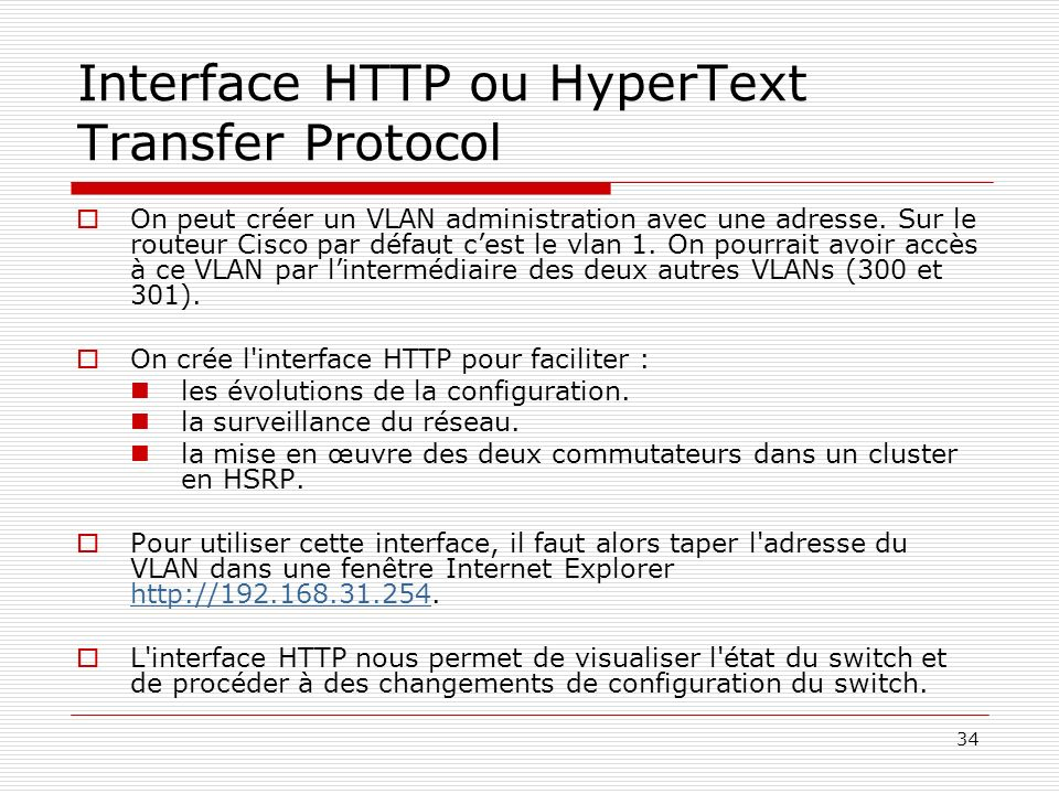 Interface HTTP ou HyperText Transfer Protocol